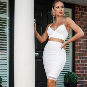 LAST 1! White Sleeveless Crop Top & Midi Skirt Set